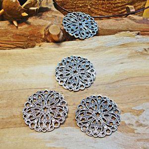 1 Metallanhänger Blume antik silber 31 mm