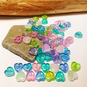 30 irisierende Acrylperlen Herzen Mix Kinderperlen 8 mm