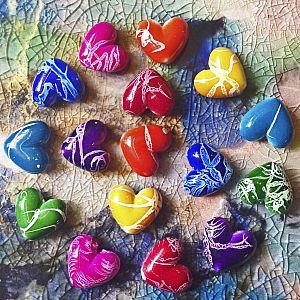 10 Draw Bench Perlen Herzen 18 mm Mix bunt