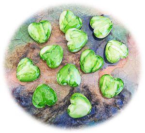 Perlenset fancy Perlen grün 2 Herzperlen 20 mm Kinderperlen