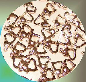 10 Metall Karabinerhaken Herzform 12 mm silber