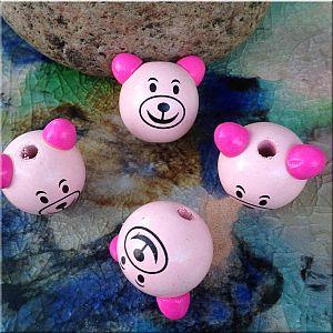 1 tolle Motivperle Teddy Kopf in rosa 30 mm