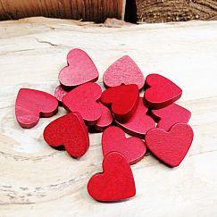 6 Hinoki Holzperlen Herzen in dunkelrot 23 mm Loch 1,5 mm