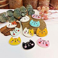 10 Katzen Knöpfe aus Holz 20 mm bunter Mix