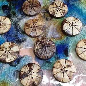 10 große Knöpfe aus Kokosnussholz handmade 30 mm