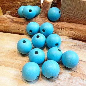 5 große Hinoki Holzperlen in babyblau 25 mm Loch 5 mm