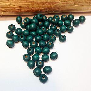 40 Hinoki Holzperlen in smaragdgrün 7 mm Loch 2 mm
