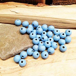 40 Hinoki Holzperlen in hellblau 7 x 6 mm Loch 1,5 mm