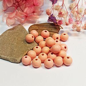 30 Hinoki Holzperlen in pastell lachsfarben 10 mm Loch 2 mm