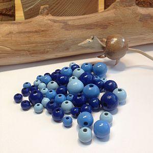 1a Holzperlen blautönig Lutsch- und Speichelfest 6 - 12 mm