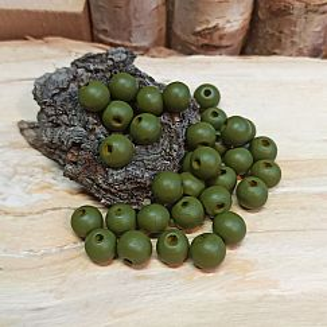 30 Hinoki Holzperlen in olivgrün 10 mm Loch 2 mm