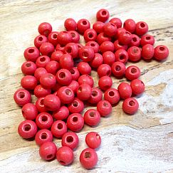 40 Hinoki Holzperlen in rot hell 6 mm Loch 2 mm