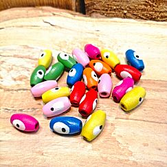 40 Holzperlen Oliven in bunt mit Augen 12 mm Loch 2 mm