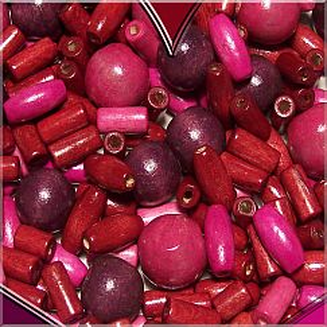 100 Holzperlen burgund Kinderperlen Formenmix 10 - 16 mm