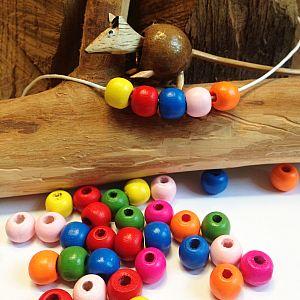 50 Kinderperlen Holzperlen Kugeln bunt 10 mm