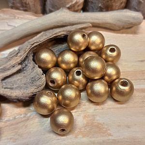 10 Holzperlen Kugeln goldfarben 16 mm