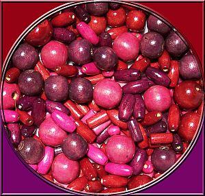 über 100 Holzperlen burgund Kinderperlen Formenmix 10 - 16 mm 50 g