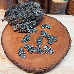 10 Metallperlen Spacer Insekt silber antik 15 mm