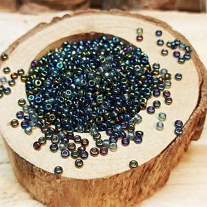 20 g Japanische Glasperlen Rocailles 1,5 x 2 mm blau violett glänzend
