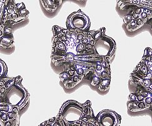10 Katzen Anhänger acryl in antik silber 14 mm Kinderperlen