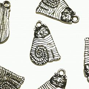 4 Metallanhänger Katze antik silber 20 x 14 mm Loch 2 mm