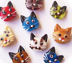 Katzenperlen Set mit 2 Glaslampworkperlen Katzen handmade beige 22 mm