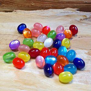 25 Acryl Katzenaugenperlen Perlenmischung Farbmix Olive 12 x 9 mm