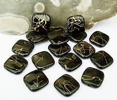 10 schöne schwarze quadratische Perlen 17 x 17 mm mit Gold