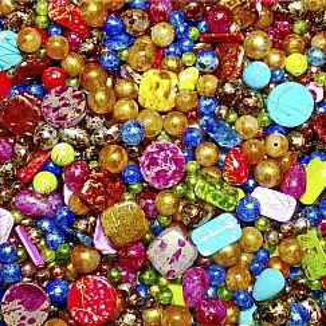 40 edelacrylic Perlen Formenmix 6 - 20 mm