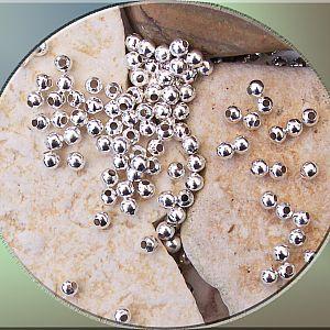 PerlenSet mit 10 g MetallPerlen Metallspacer 3 mm silber ca. 100 Stck.
