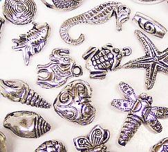 20 große Spacer Perlen CCB silber 15 - 45 mm