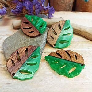 2 Blattanhänger für Ketten oder Ohrhänger aus Perlmuttresin und Holz 37 mm grün
