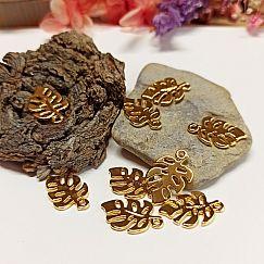 2 Charms Kettenanhänger Blattmotiv gold 19 mm