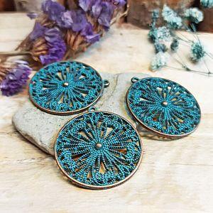 2 Metallanhänger Blume 44 mm bronze antik Patina 30 mm