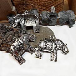 1 großer Ketten Anhänger Elefant Metall antik silber 60 mm nur noch 1x