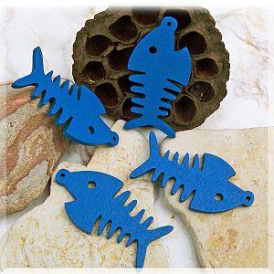 5 große Anhänger Fisch blau Holzfisch 64 mm