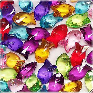 Perlen Anhänger mit 20 grosse Fische facettiert 16 mm Perlenmix
