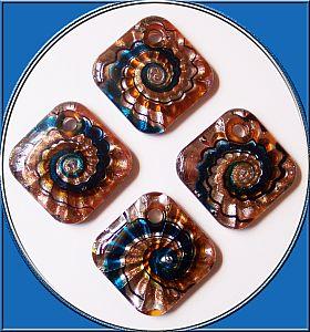1 großer Lampwork Glasanhänger 50 mm Spirale