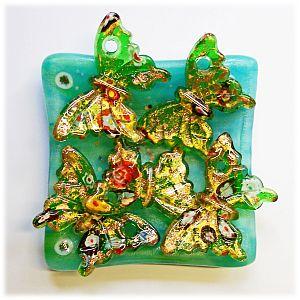 1 großer Glas Lampwork Glasanhänger Schmetterling grün 54 mm