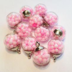 2 Glaskugelanhänger mit rosa Kügelchen