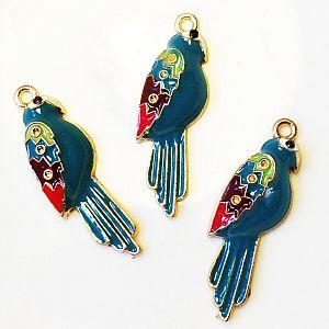 2 große Metallanhänger Emaille Papagei 36 mm
