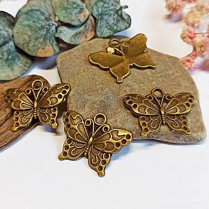 2 Metall Kettenanhänger Schmetterling 25 mm bronze antik