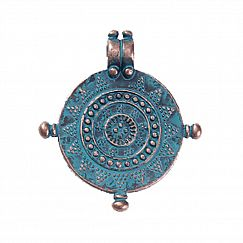 1 Metallanhänger Kompass 27 mm Kupfer antik