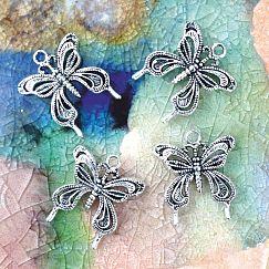 Kettenanhänger Schmetterling Metall silber antik 26 mm