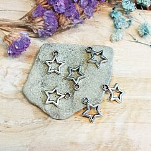 4 Charms Metallanhänger Stern für Ketten Armbänder 13 mm silber