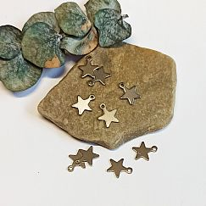 2 Edelstahl Charms Kettenanhänger kleine Sterne silber antik 10 mm