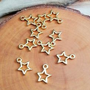 4 Charms Metallanhänger Stern für Ketten Armbänder 13 mm gold