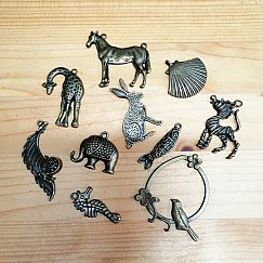 10 große Kettenanhänger Tiere  in bronze antik 30 - 55 mm