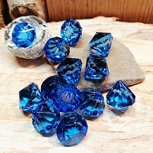 10 facettierte große Diamantimitat Anhänger blau 15 mm