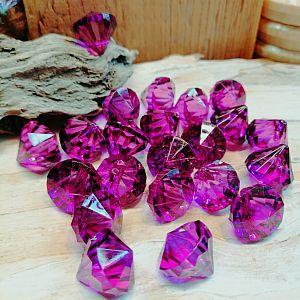 10 facettierte große Diamantperlen Imitat Anhänger Tropfen lila 15 mm